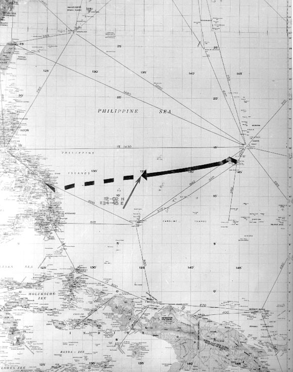 Indianapolis's intended route from Guam to the Philippines.