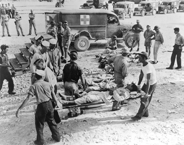 Survivors of Indianapolis on Guam, in August 1945.