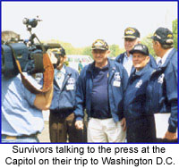 Survivors speaking to reporters in 199 in D.C. as they seek funds and congressional help/recognition for the memorial