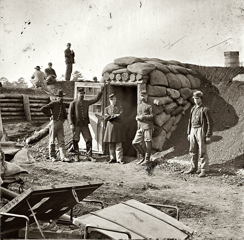 Union soliders in Fort Harrison, now Burnham, not long after the forts capture