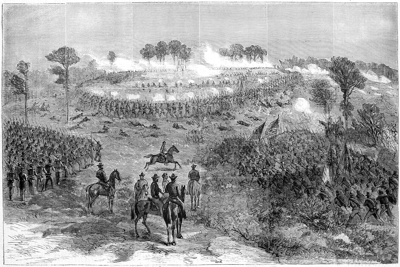 """""""The Battle at Chapin's [sic] Farm, September 29, 1864.""""-Sketched by William Waud of Harper's Weekly. This was done during the assault on Fort Harrison, of which is shown here"""