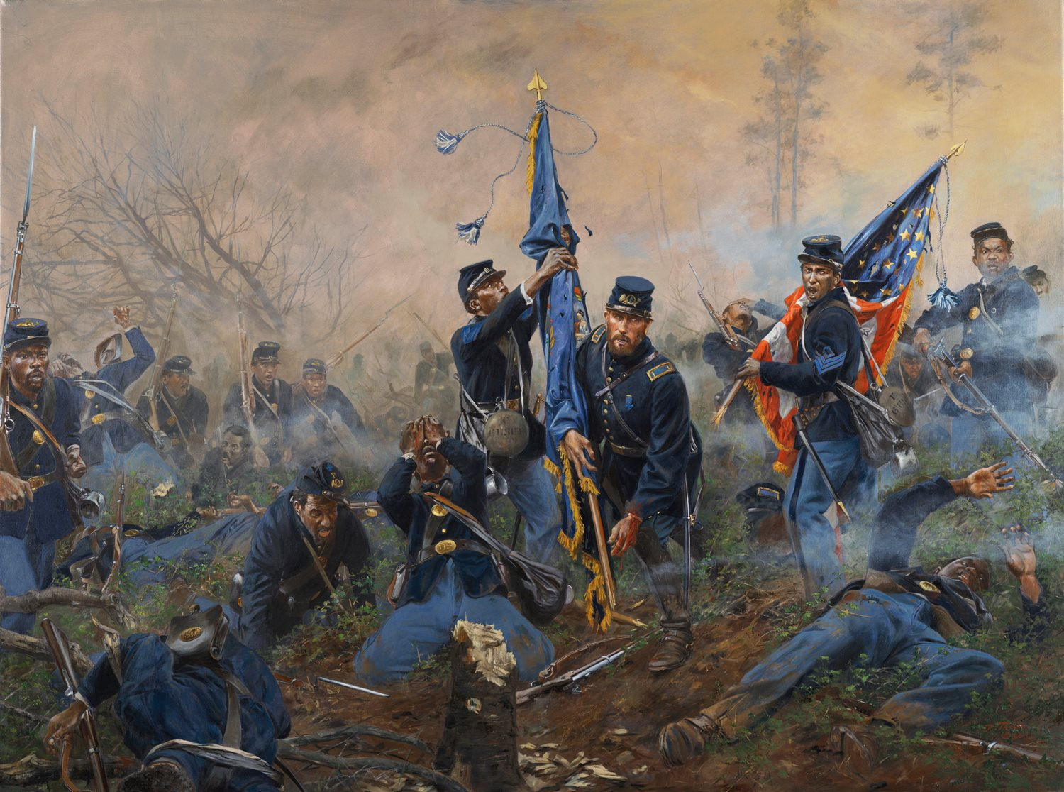 """Don Troiani's painting, """"Three Medals of Honor,"""" depicts Sgt. Maj. Thomas Hawkins and his commander, Lt. Nathan Edgerton saving their regiments flag, while 1st Sgt. Alexander Kelly on the right saves the national flag."""