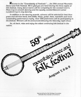 A program from the 59th annual Mountain Dance and Folk Festival, 1986. Courtesy of UNC Asheville Library.