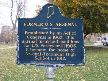 Former US Arsenal historical marker located on the west edge of campus