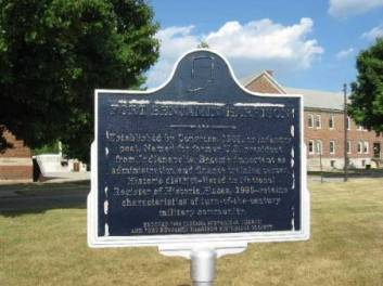Fort Benjamin Harrison historical marker before it was taken down