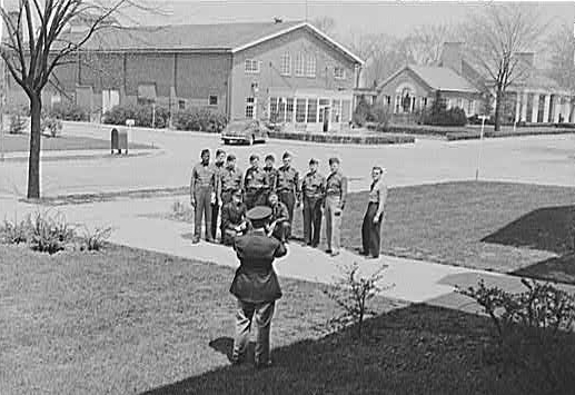Graduates of the U.S. Army Chaplain School at Fort Benjamin Harrison pose for a photograph, April 1942. Courtesy of the Library of Congress.