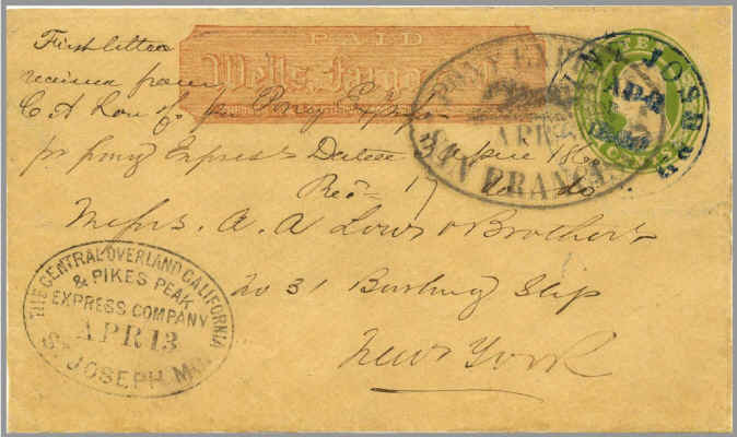 Letter from first eastbound Pony Express mail delivery to St. Joseph, Missouri.
