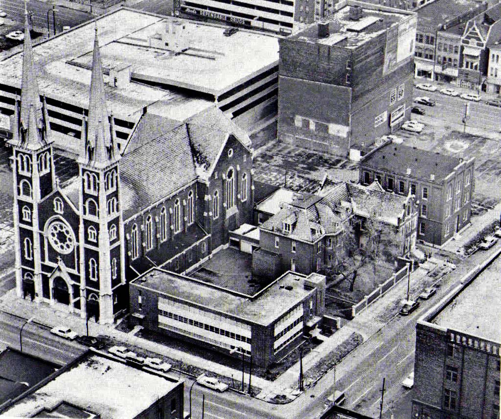 This aerial shot reveals the size of the church and its rectory.