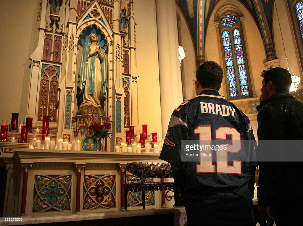 This Patriots fan's prayers were not answered as they lost to the Giants in Super Bowl XLVI, which took place in Indianapolis in 2012.
