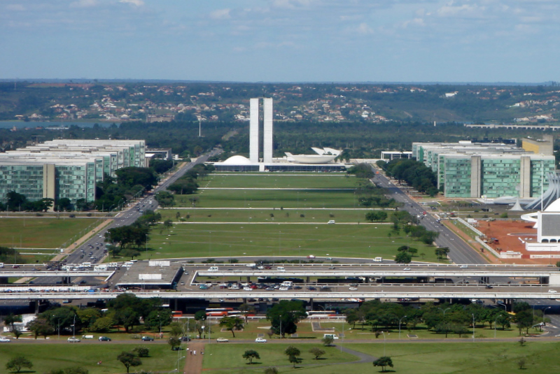 View of Ministries Esplanade in Brasilia, Brazil. There are noticeable similarities with the Empire State Plaza.