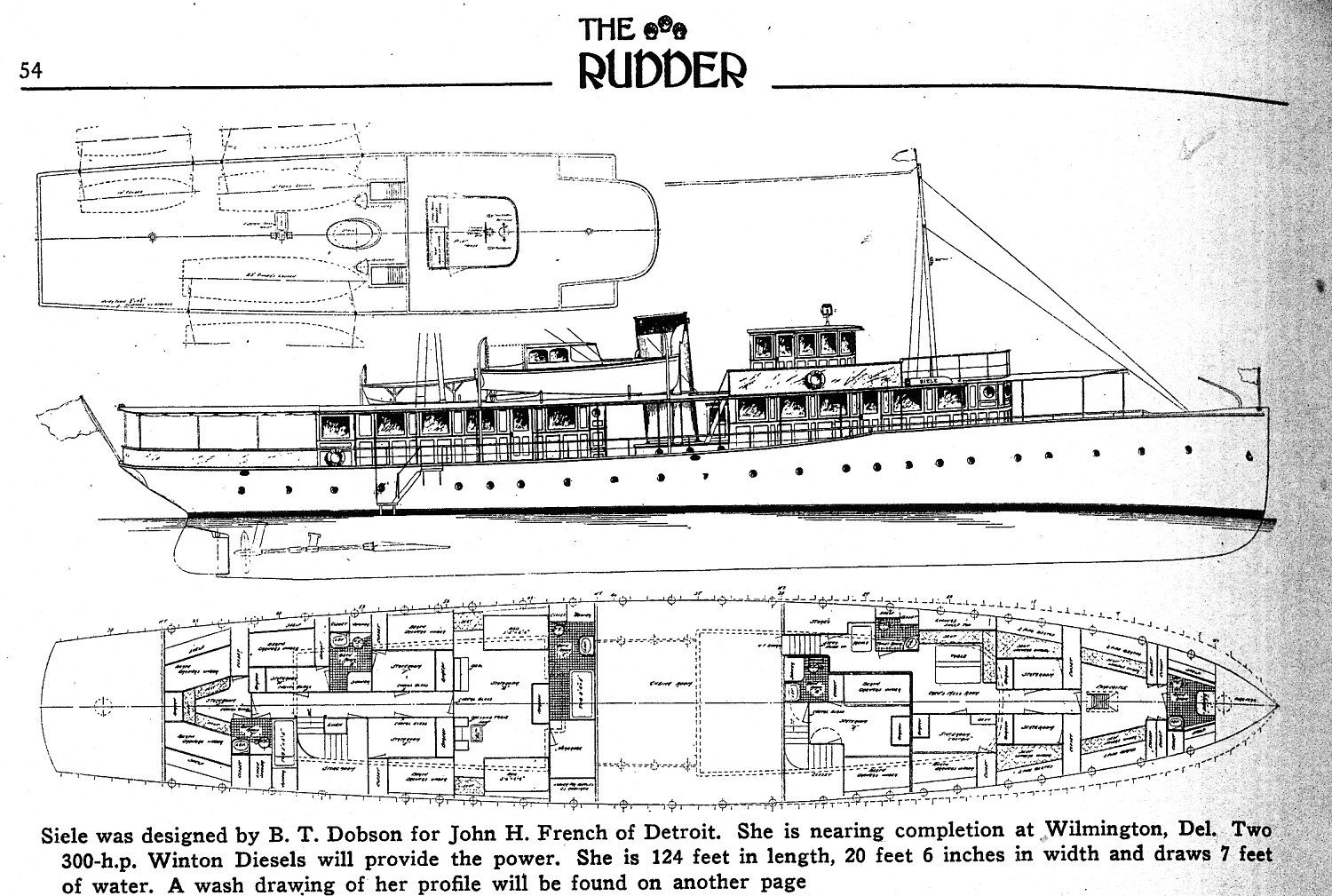 Technical Drawing of the Siele from the May 1926 Rudder magazine, courtesy of Maunsel White