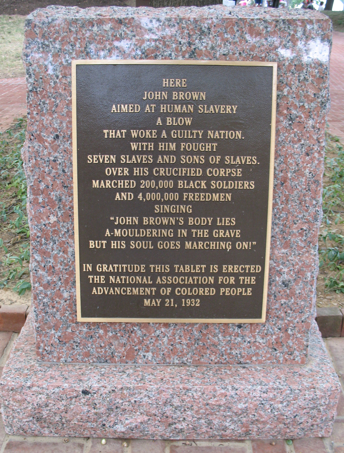 The inscription on the tablet was originally rejected by Storer College for sounding too militant. Image obtained from alliesforfreedom.org.