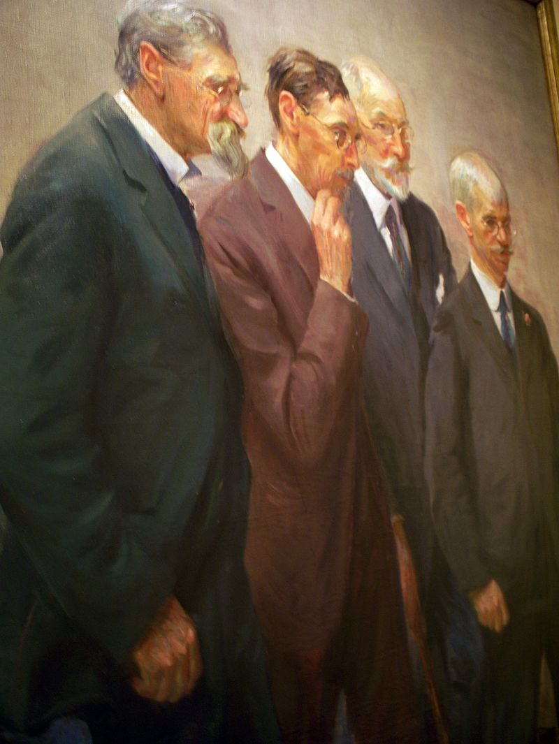 "Forsyth pictured to the far right in the painting ""The Art Jury"" by Wayman Elbridge Adams"