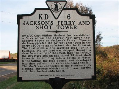 Jackson Ferry Shot Tower Historic Plaque
