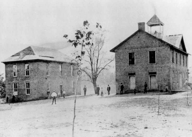 Mars Hill College at the time of President Moore's arrival in 1897. Founders Hall can be seen on the left across from the First Building.