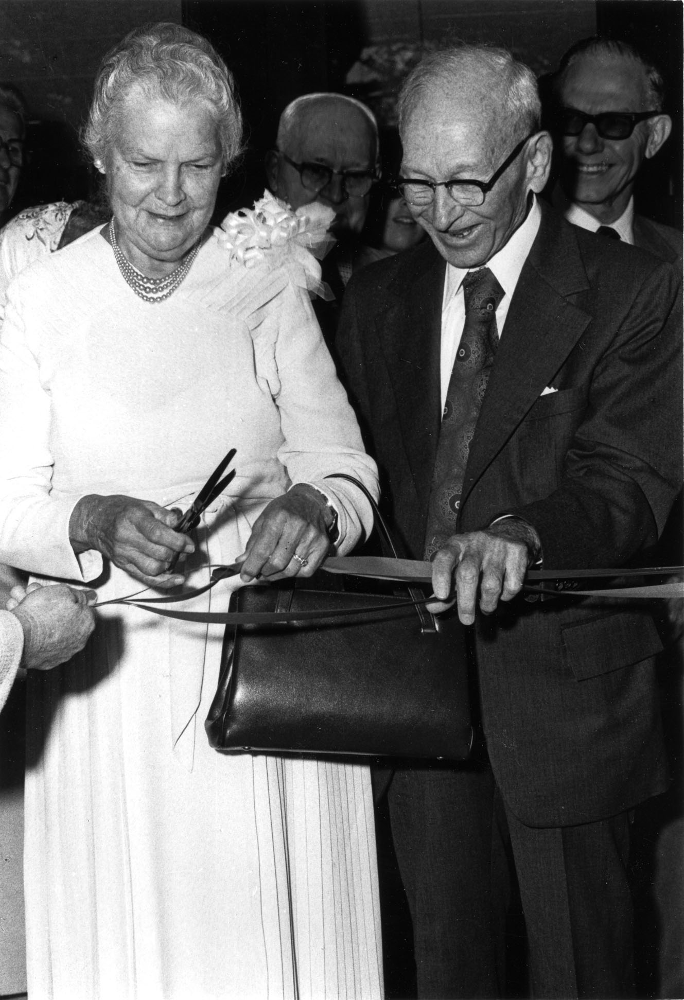 Dr. and Mrs Blackwell at the ribbon-cutting ceremony for the building named in their honor, Blackwell Hall, 1978.
