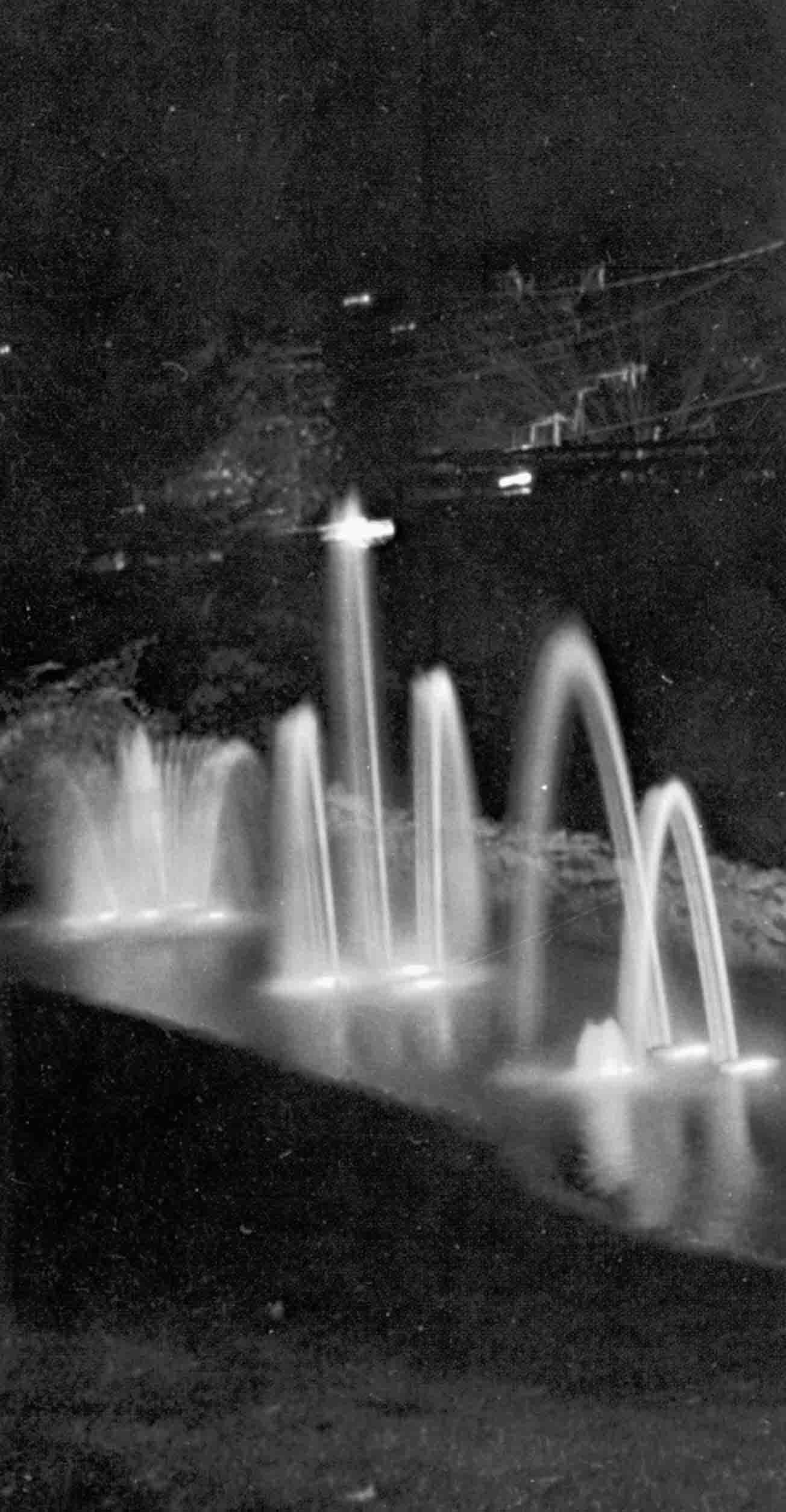 Amphitheater fountain at night.