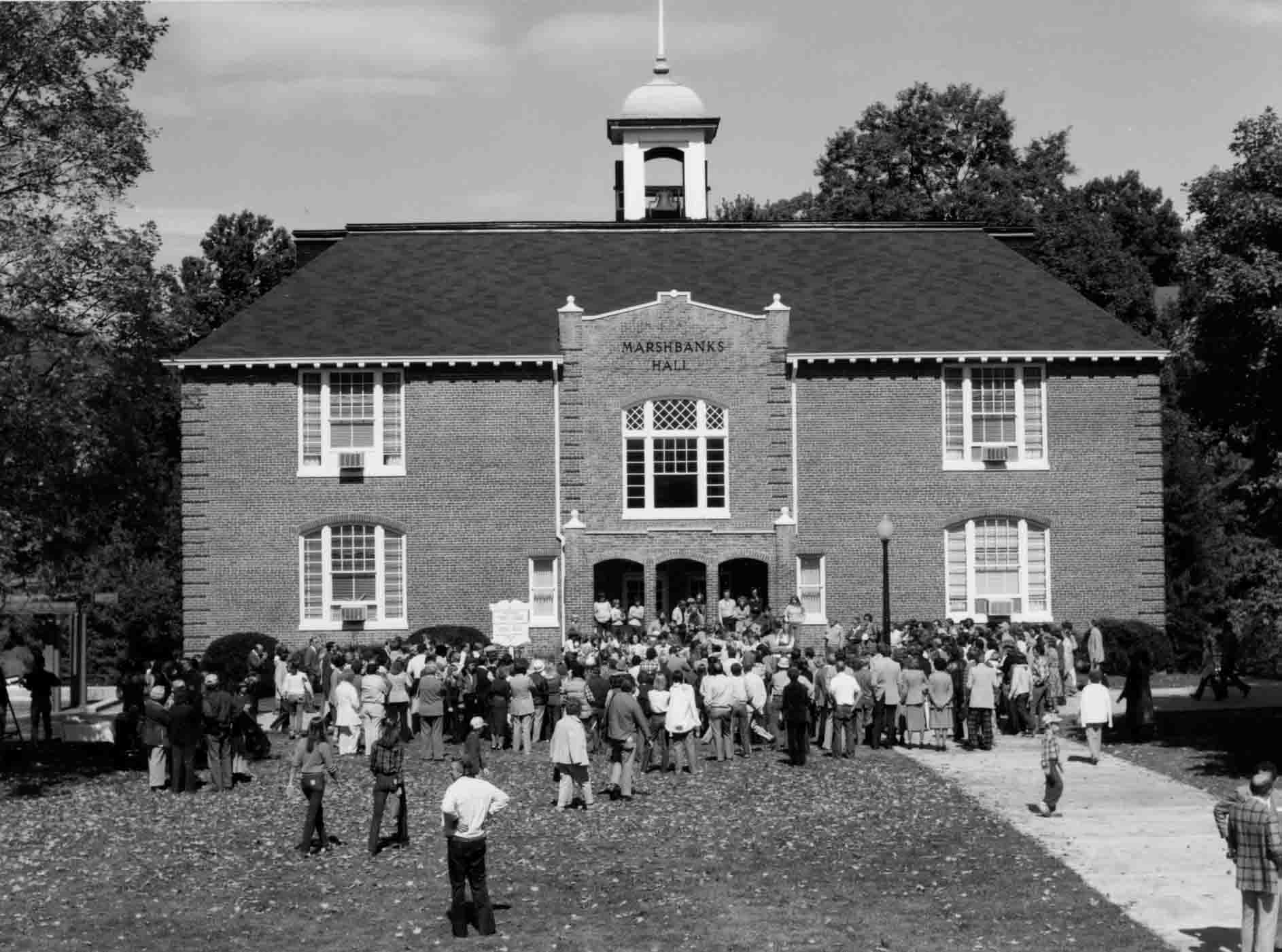 Crowd gathering for the renaming of Robert Lee Moore Hall to Marshbanks Hall, 1979.
