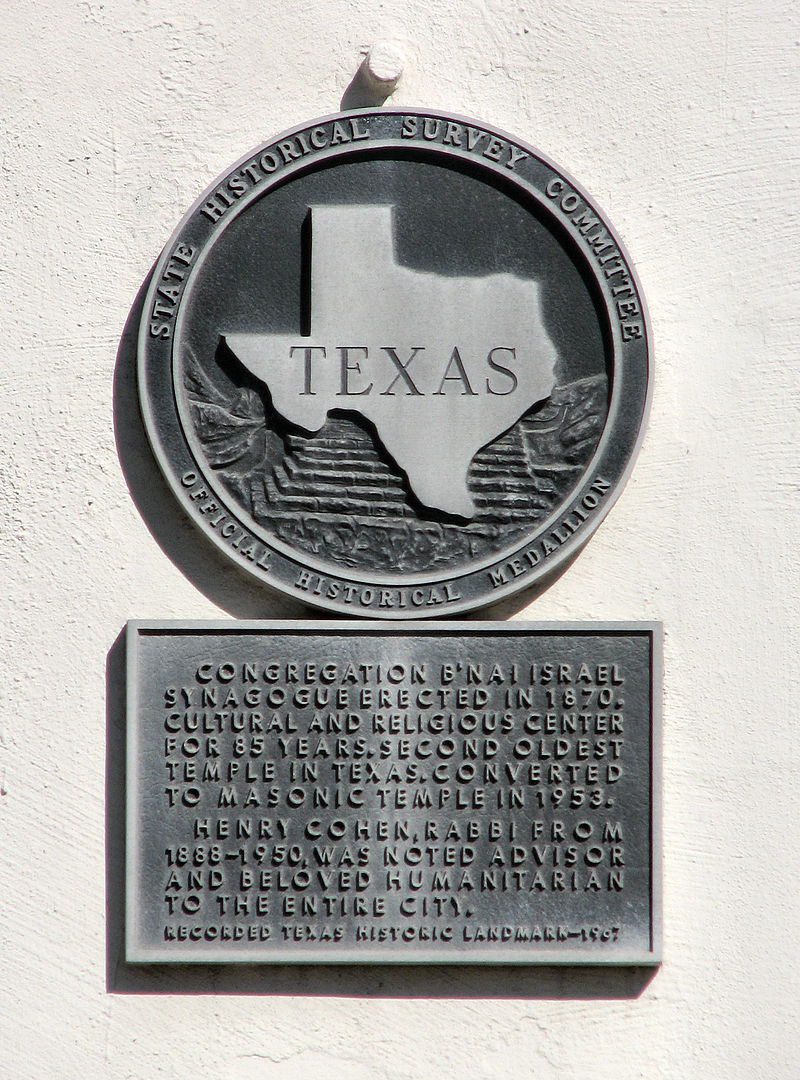 This state historical marker is affixed to the exterior wall of the 1870 temple.