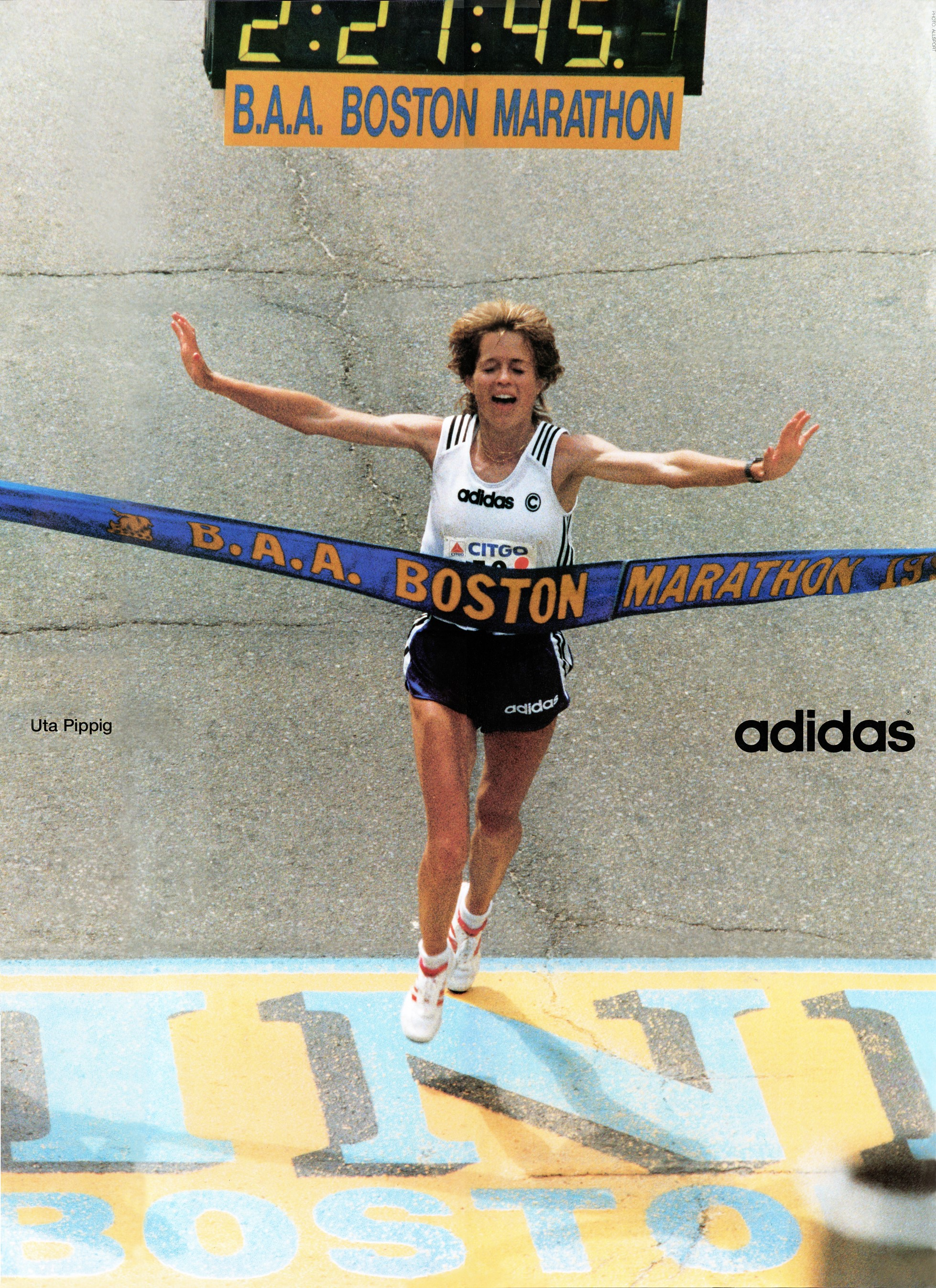Celebration of the 100th running of the Boston Marathon. Largest turnout of the race ever. Uta Pippig becomes first woman to win it three consecutive times.