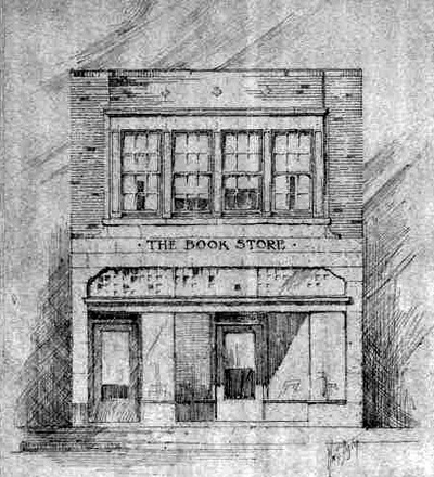 An architect's rendering of a two-story version of The  Book Store. undated.  Perhaps a second floor was planned.  This might explain why the building's door is off-center.