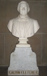 Bust of Calvin Fletcher that is found in the Indiana State House