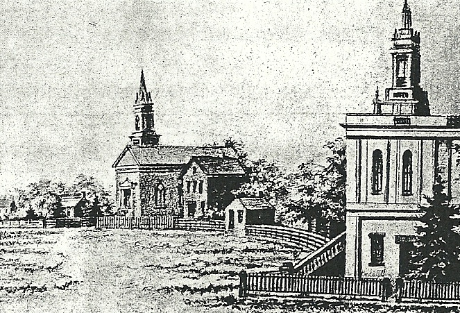 The probable appearance of the Indianapolis Station AME Church, 1858-1864. No image exists of the church after it was moved from the circle (above) to the Georgia Street site.  Image Source: Eli Lilly's  The Little Church on the Circle