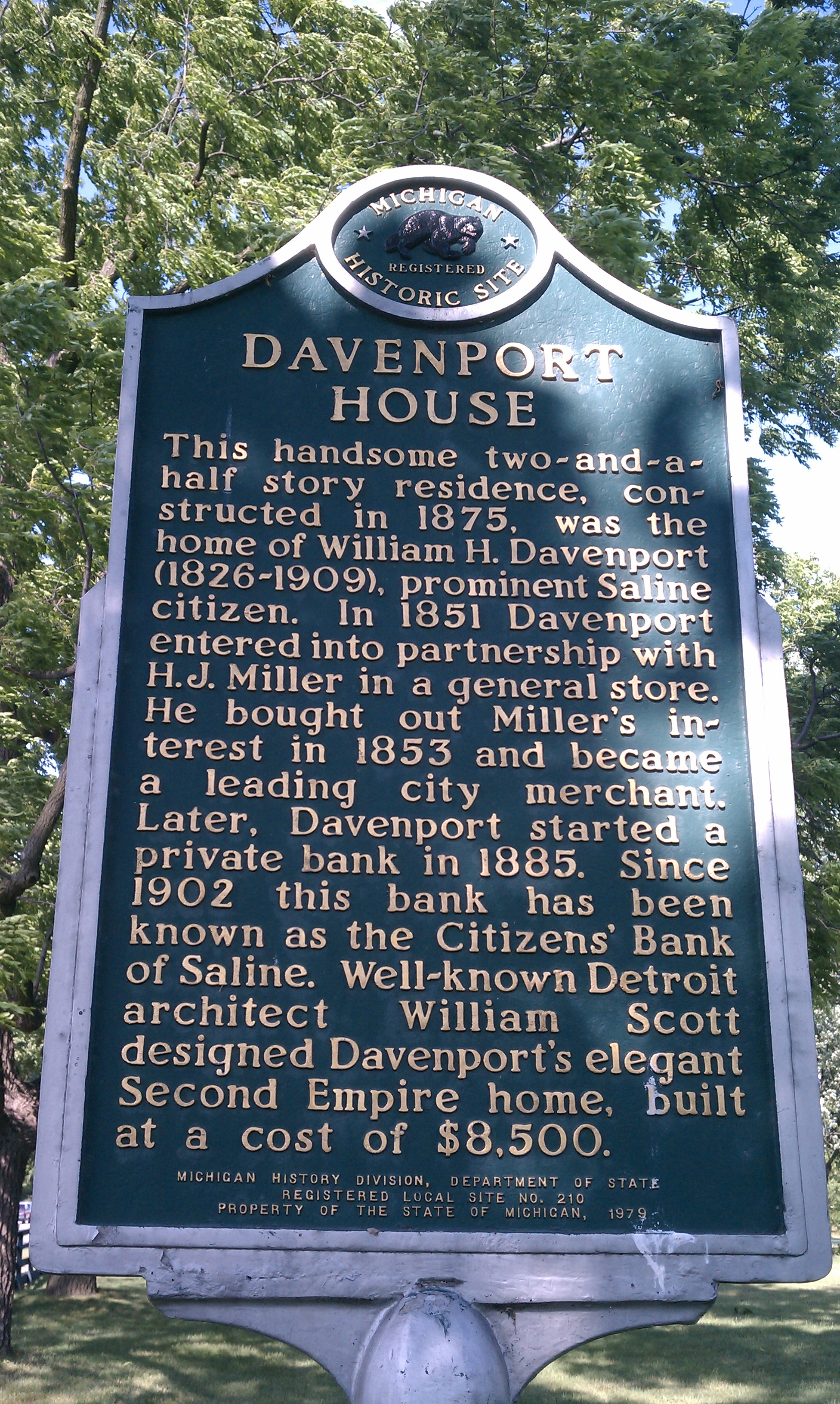 The Michigan Historic Site Marker at the Davenport House