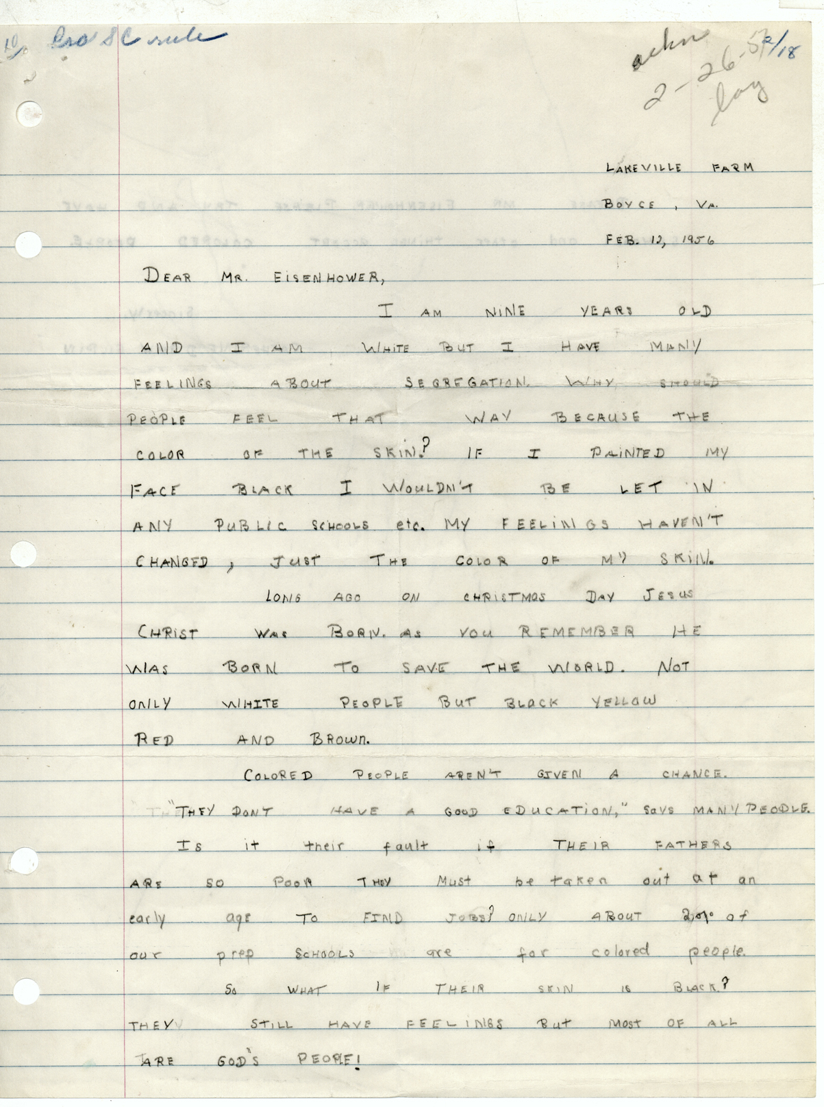 Drew Gilpin's letter (page 1) to President Eisenhower, 9 February 1957 (misdated 1956), Dwight D. Eisenhower Presidential Library.