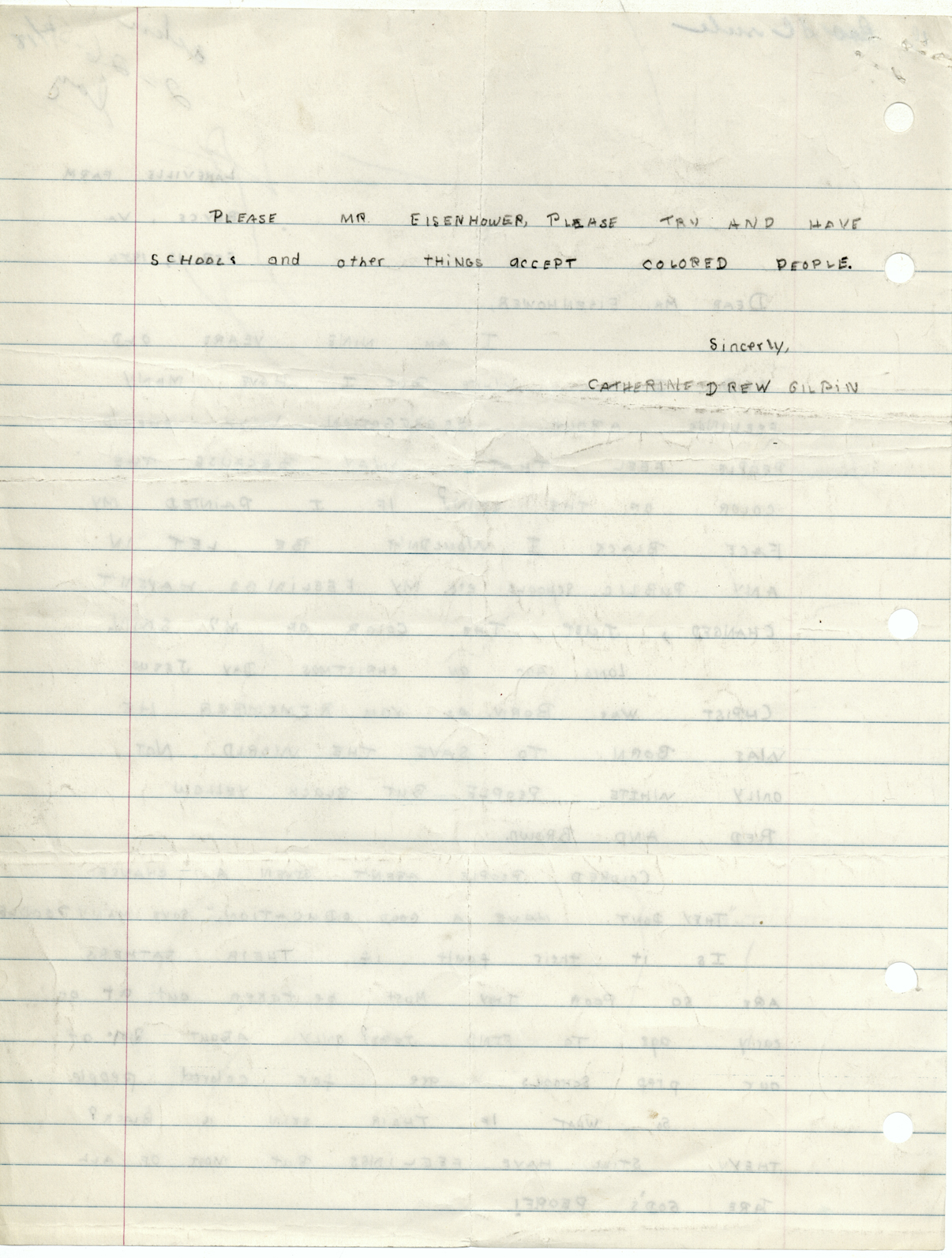 Drew Gilpin's letter (page 2) to President Eisenhower, 9 February 1957 (misdated 1956), Dwight D. Eisenhower Presidential Library.