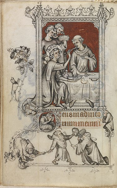 A page from Jean Pucelle's Heures de Jeanne d'Evreux. The image depicts an act of charity in which church officials are feeding a leprous monk.