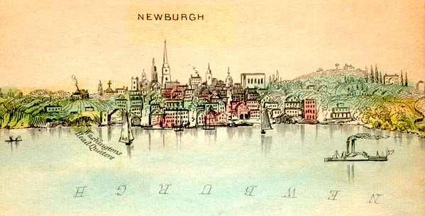 "Newburgh in 1846, as depicted by engraver William Wade as part of his 6-foot-long panoramic ""Virtual Trip up the Hudson."" The church is the rectangular building to the right of the city, once again a notable landmark (source: Newburgh DRC website)"