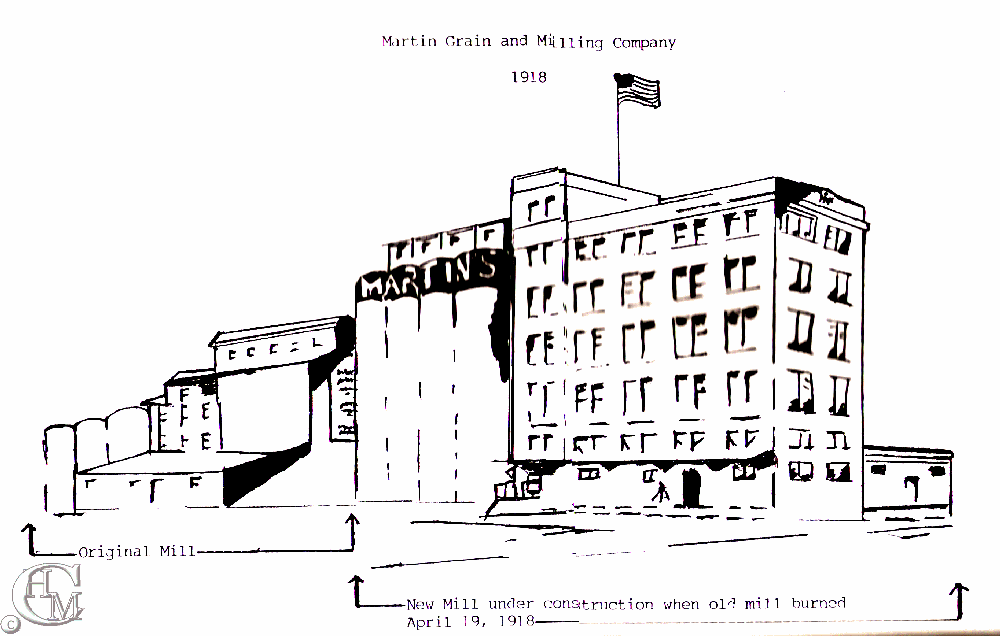 Sketch of the original mill at left and the new 1918 concrete mill courtesy of Susan L. Ferguson.