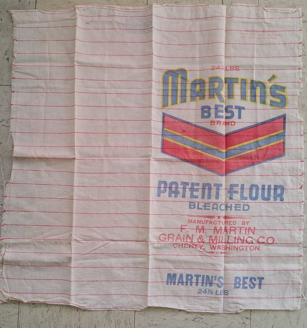 Martin milling, like many mills, bagged flour in sacks with patterns and wash-off labels that could be turned into clothing.