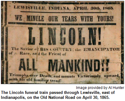 Lewsiville, Indiana newspaper headline announcing the pending arrival of the funeral train to Indianapolis.