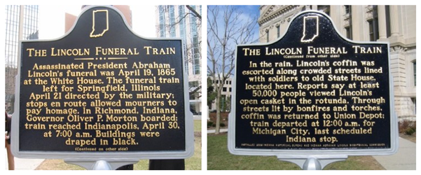 Both sides of the historical marker that sits on the south lawn of the statehouse. Located near the entrance from said lawn.