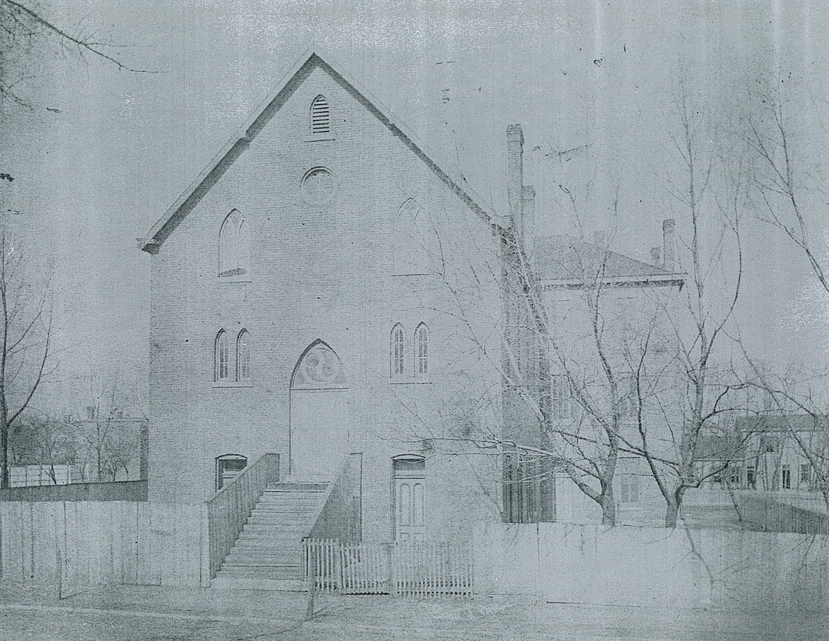 "This image from about 1887, shows the first location of St. Vincent's Infirmary (1881-1889). Source: Thurman B. Rice, ""The Catholic Hospitals,"" in One Hundred Years of Medicine: Indianapolis, 1820-1920 (1949)."