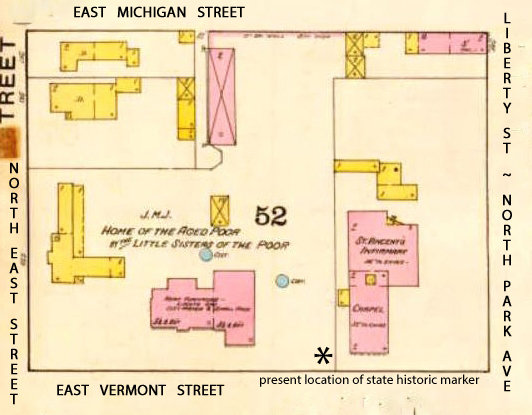 1887 City Block Map showing the location of St. Vincent's at the lower righthand corner. Source: IUPUI Center for Digital Scholarship. Creator: Sanborn Fire Insurance Map