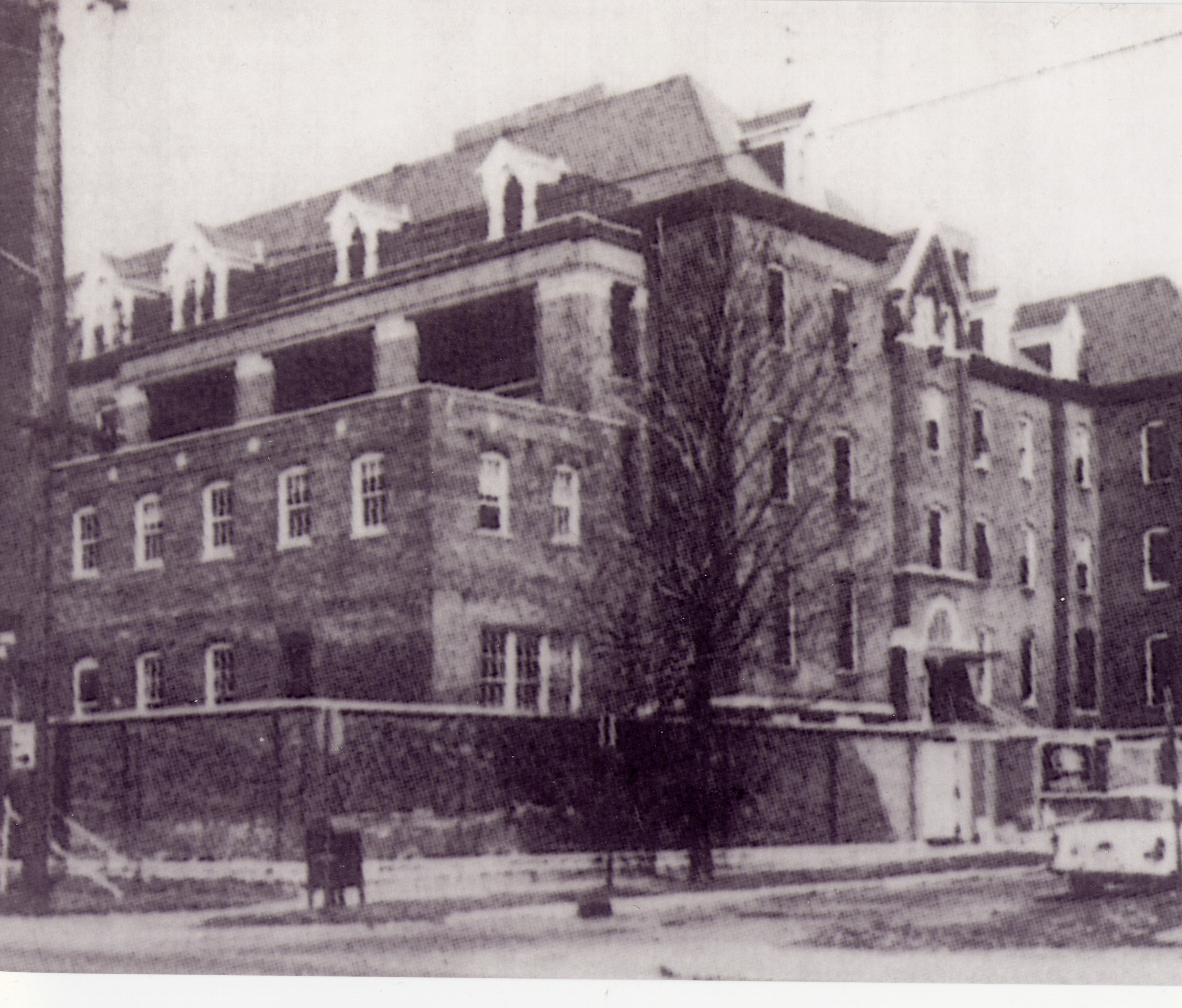 The Little Sisters of the Poor religious order's Home of the Aged Poor was at 520 East Vermont Street, sharing the city block with the first location of St. Vincent's Infirmary, and long survived it. Source: Indiana Medical History Museum.