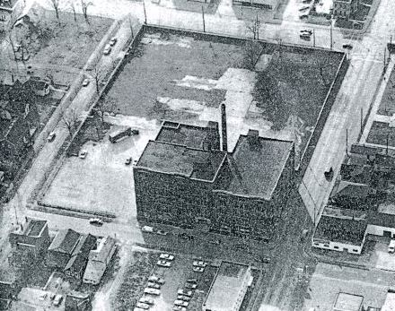 Aerial View, 1982. The first St. Vincent's Infirmary (1881-1889) stood in the southeast quadrant of the city block (lower left in this photo). Image courtesy of Indianapolis Star, January 31, 1982.