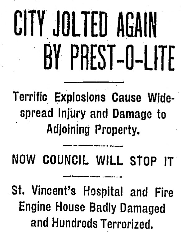 1908 Indianapolis Star headline on the Prest-O-Lite explosion and fire. Victims were treated at St. Vincent's (at its second location). Image source: Indianapolis Star June 7, 1908.