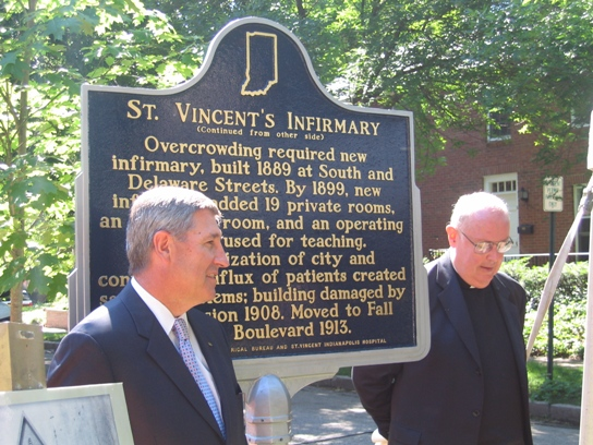 Vincent C. Caponi, the Chief Executive Officer at St. Vincent's and Msgr. Joseph Schaedel, Vicar General welcomed the new marker in 2008.
