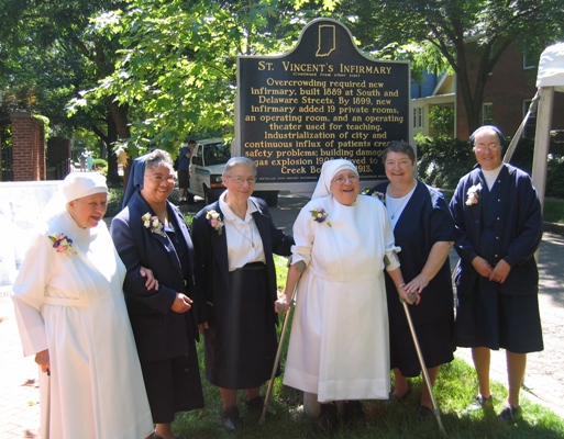 Sister Catherine Kelly (second from right), one of the oldest surviving nuns of the hospital, was among those who attended and participated in the ceremony in 2008.