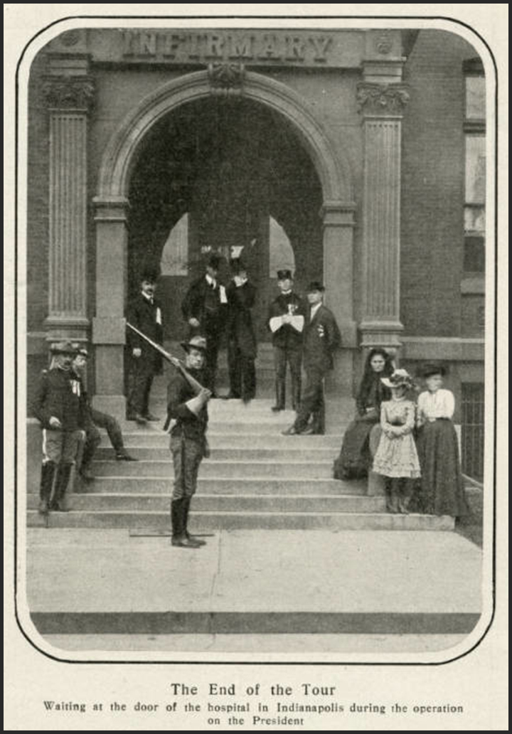 In a photo from Harper's Weekly, Soldiers stand watch outside of St.Vincent (third location) during Teddy Roosevelt's 1902 surgery. Photo: courtesy of the Indiana Historical Society.