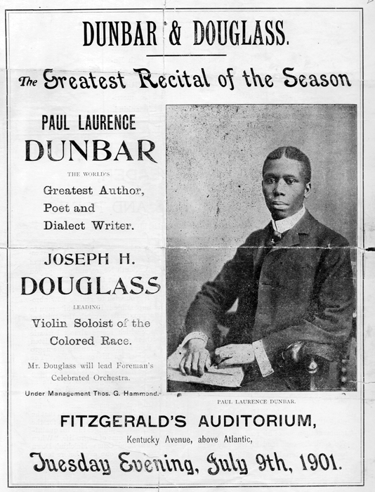 Flyer advertising a poetry recital featuring Dunbar.