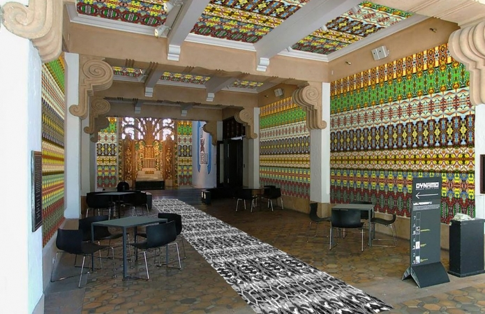 The Wolfsonian's lobby temporarily features wall wrappings by Dutch artist, Christie van der Haak.