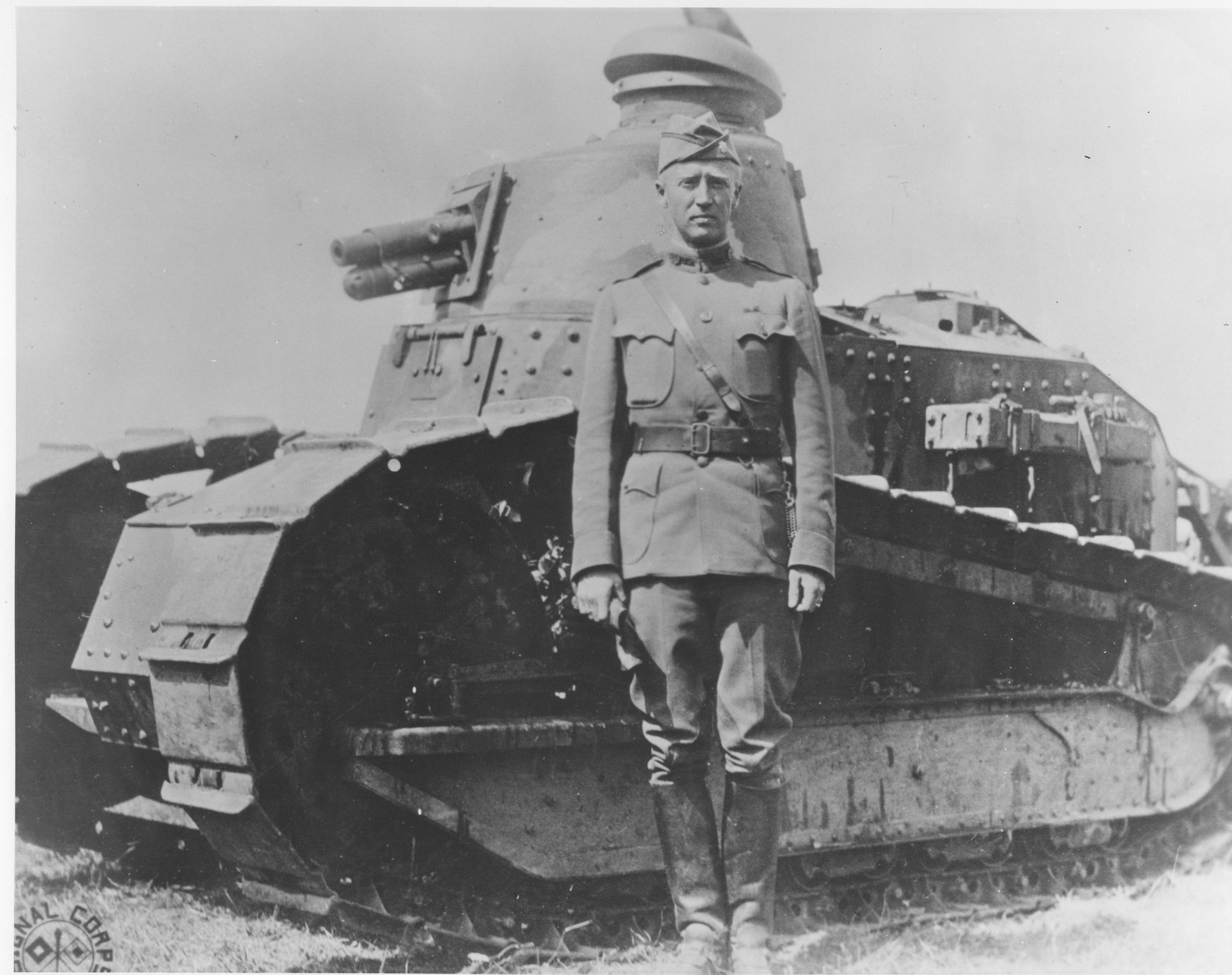 Patton during WWI beside Renault tank