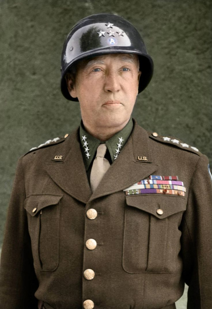A color portrait of General Patton from World War II, wearing four stars