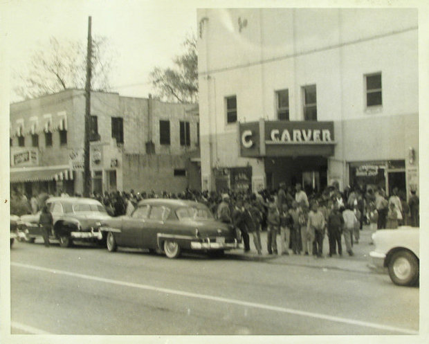 Movie patrons at the old Carver Theater in the 1960s-the building is presently used as a church