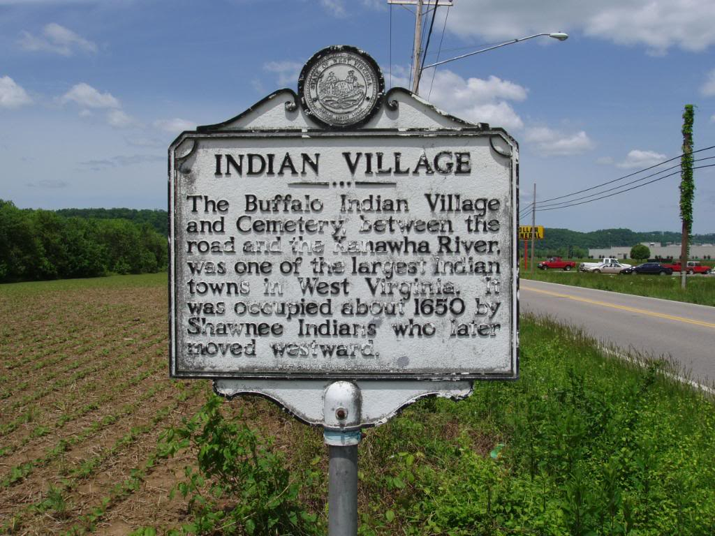 Indian Village Marker   Located: WV 62, just east of Buffalo, 7.3 miles west of Winfield Bridge (WV 34), 22.4 miles east of WV 2, West of Buffalo Bridge